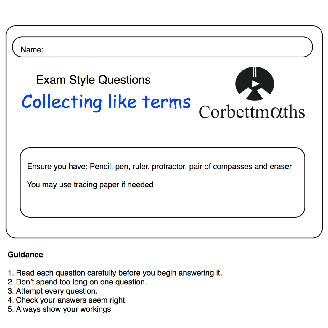 Collecting Like Terms Practice Questions Corbettmaths