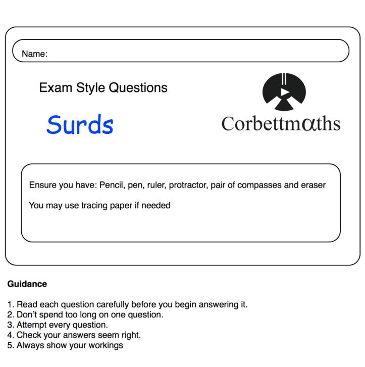Surds Practice Questions Corbettmaths