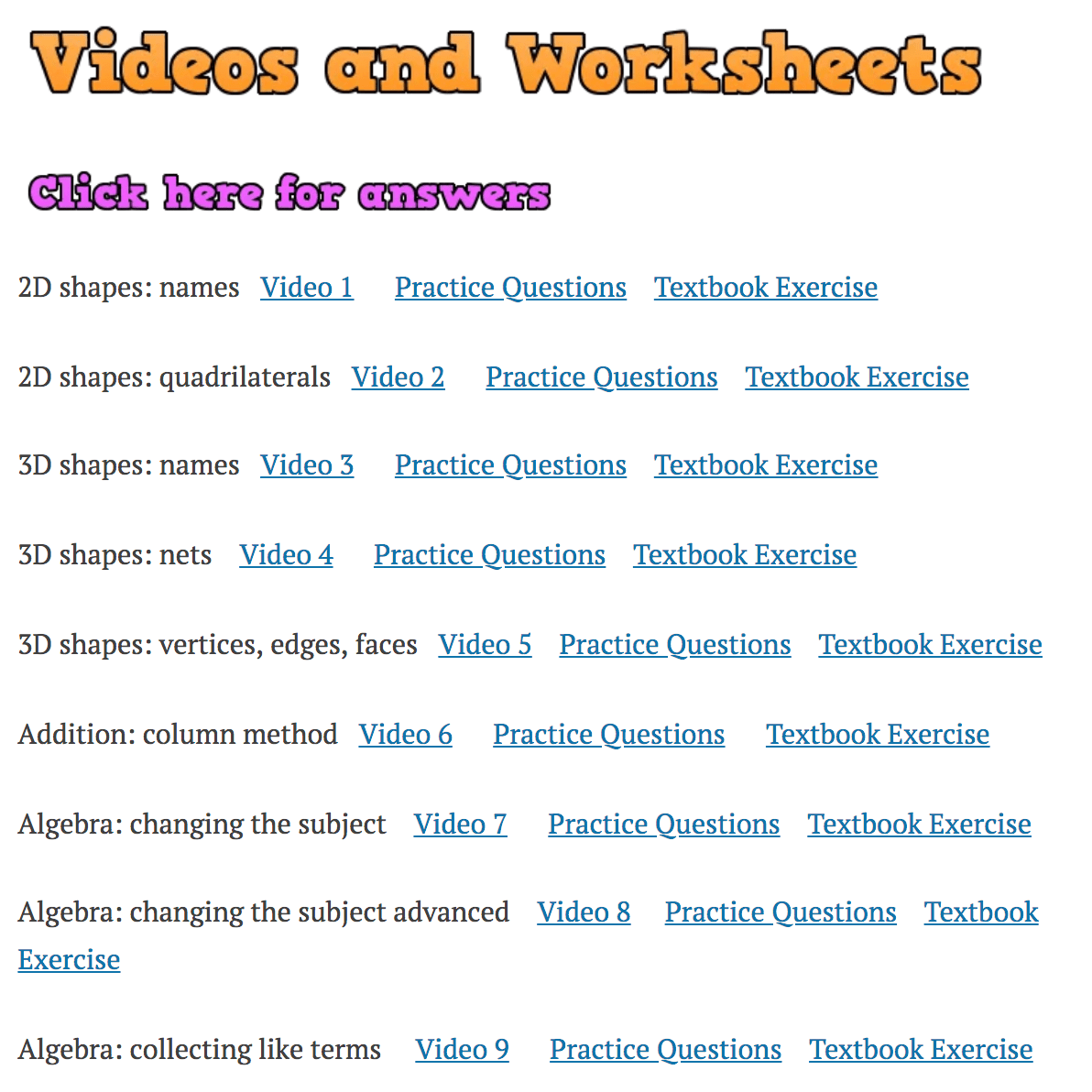 Videos and Worksheets – Corbettmaths
