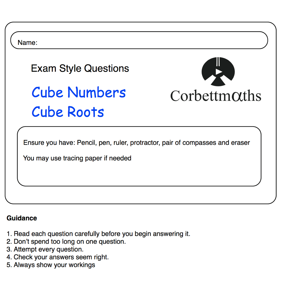 Pq Cube Numbers Cube Roots Corbettmaths