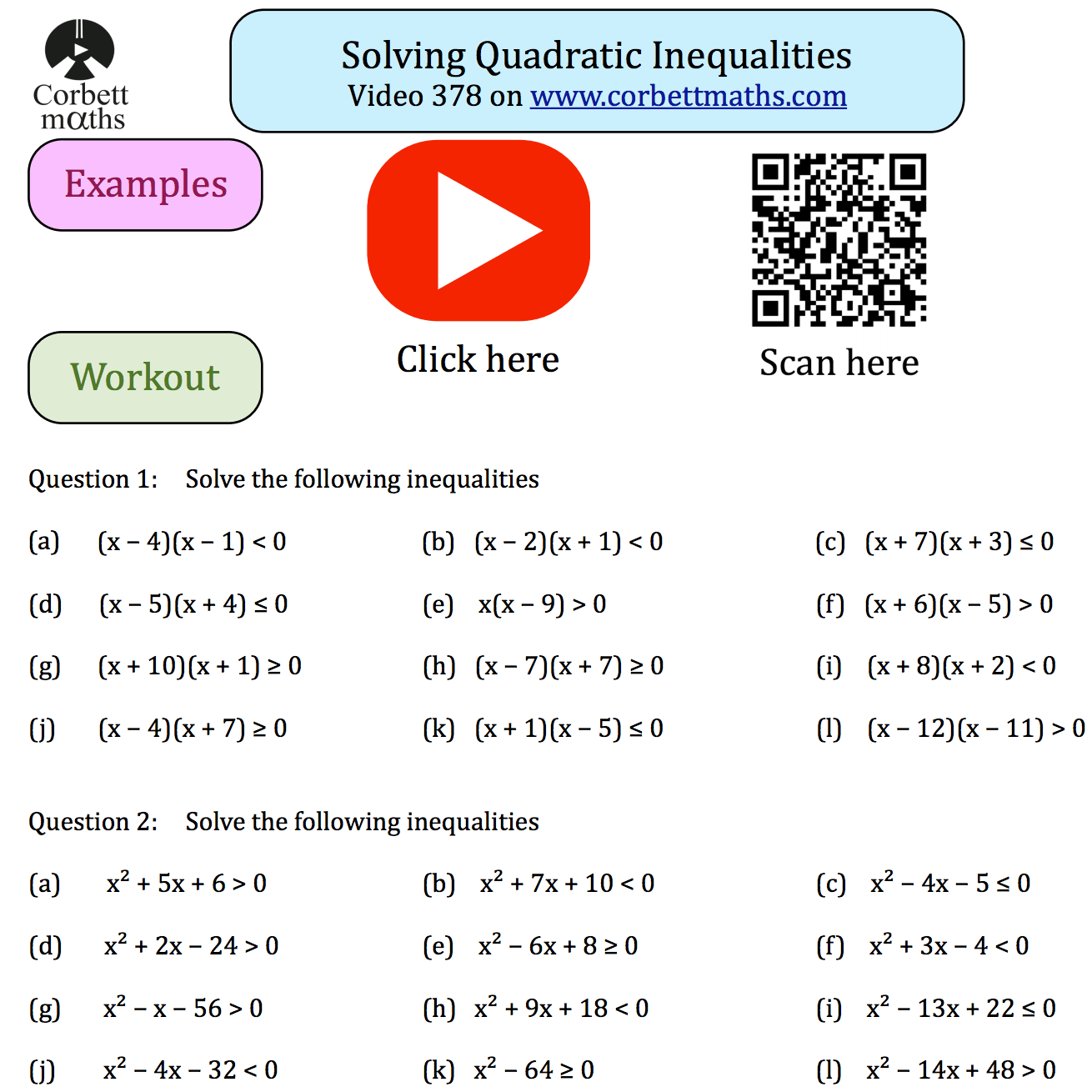 Solving Quadratic Inequalities Textbook Exercise Corbettmaths