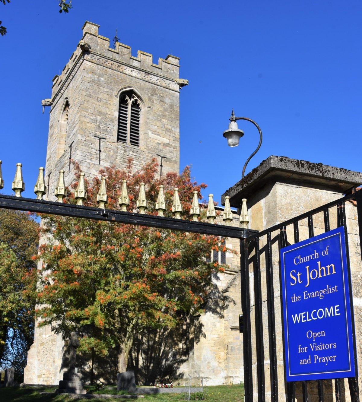 St John's Church Gateway with Welcome Sign