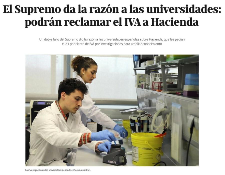El Supremo da la razón a las universidades: podrán reclamar el IVA a Hacienda