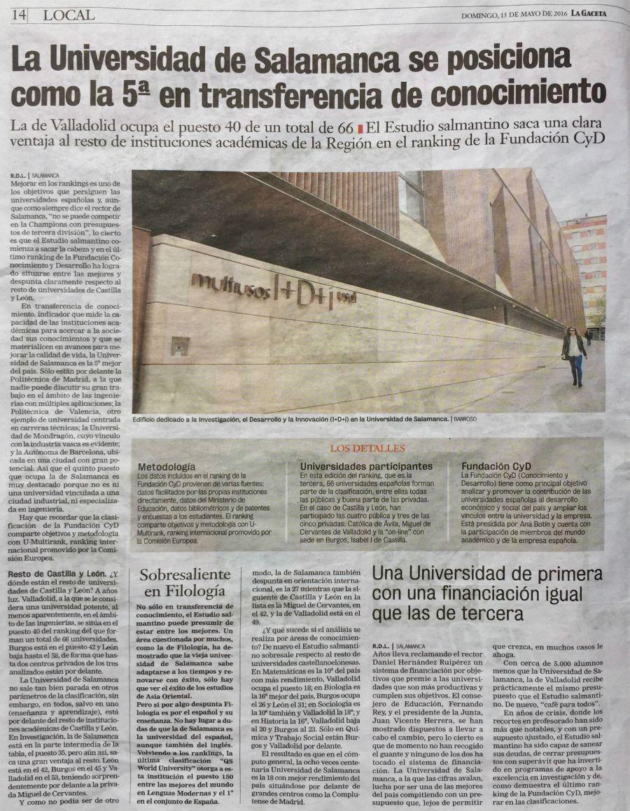La Universidad de Salamanca, quinta en transferencia de conocimiento