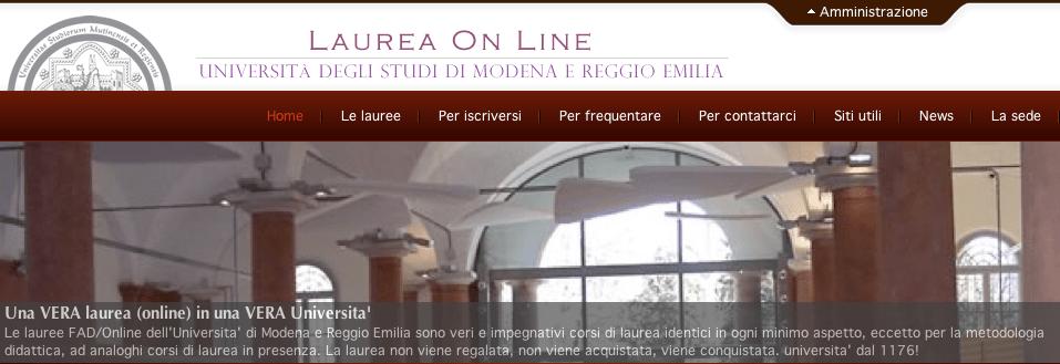 Unimore > Laureaonline > Homepage