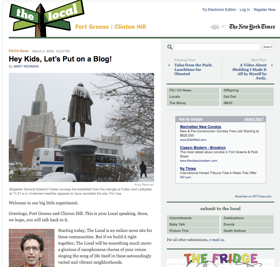 ew York Times > The Local > Fort Green > Hey Kids, Let's Put on a Blog