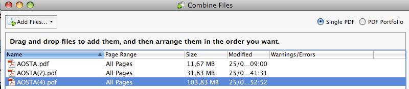 ACROBAT > Combine files