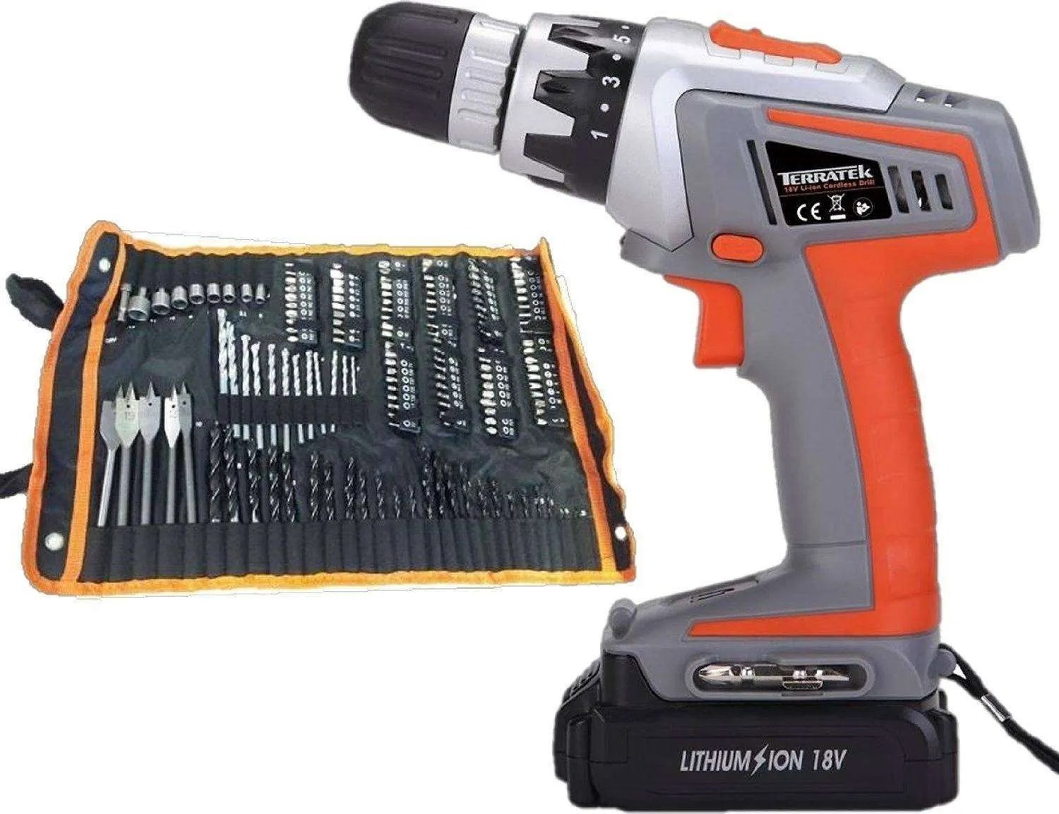 Terratek 18V Lithium Ion Li-ion Cordless Power DIY Combi Drill Driver with 150pcs Accessory Kit