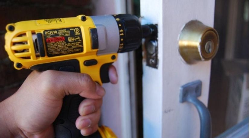 Can A Cordless Drill be used as a Screwdriver? Yes. The picture shows a drill in use to unscrew screws on the door lock