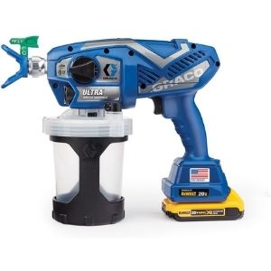 An image of the Graco Ultra Cordless Airless Handheld Paint Sprayer 17M363, a powerful and convenient model among the best cordless paint sprayer
