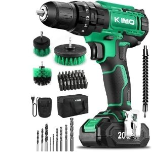 An image of KIMO Cordless Drill Driver Kit, an integral unit among the best lightweight cordless drill that is versatile and can help with the drilling, screwing and can also be used as an impact drill