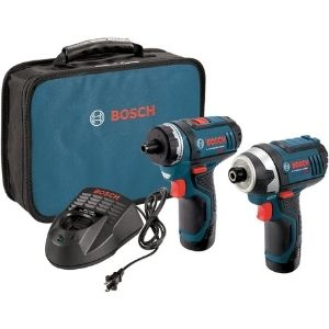 An image of Bosch CLPK27-120 12V Max 2-Tool Combo Kit, one of the most powerful models among the best cordless screwdriver for electricians models