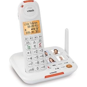 The VTech SN5127 Amplified Cordless Senior Phone System is considered one of the best cordless phone for visually impaired owing to its large and spaced buttons as depicted in the image above