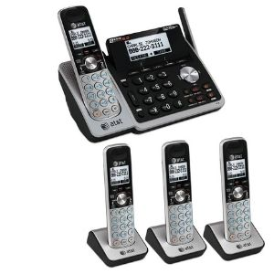 Image with three handsets plus one handset landline telephone bundle