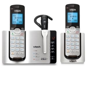 Representation with one cordless headset and two silver/black handsets
