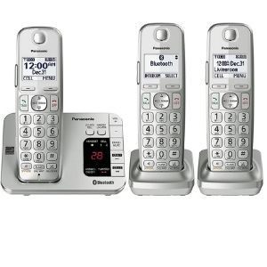 Image with three silver handsets from PANASONIC brand