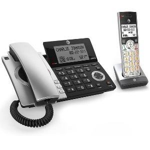 an image of the unique AT&T CL84107 DECT 6.0 Expandable Corded/Cordless Phone, a product special for availing both cordless and corded convenience in one home phone system, making it outstanding among the best at&t cordless phone systems.
