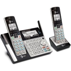 The picture above illustrates the AT&T TL96273 DECT 6.0 Expandable Cordless Phone, inclusive of two handsets and a speakerphone integrated in the base unit, making it count as one of the best at&t cordless phone models