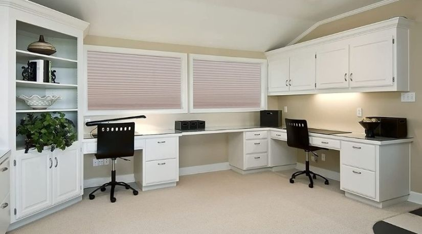 Redi Shade 3512158 Trim-at-Home Light Filtering Fabric Natural in use in a room to ensure privacy, showing the importance of the best cordless blind units