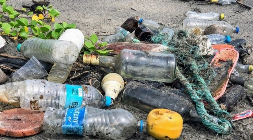 A photo showing the need for the collection and reuse of the plastic materials as they deteriorates the environment through pollution