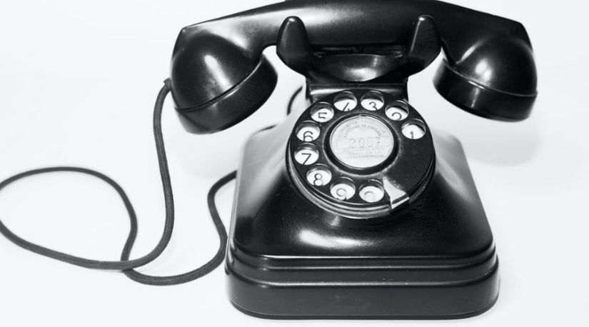 An image of a home telephone with a dial tone