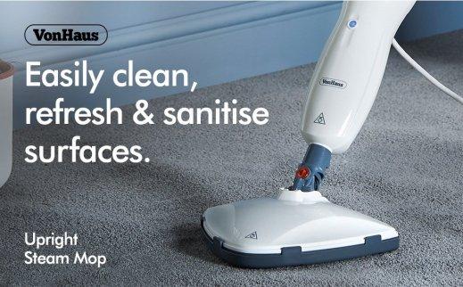 VonHaus White Upright Steam Mop Floor Cleaner Review