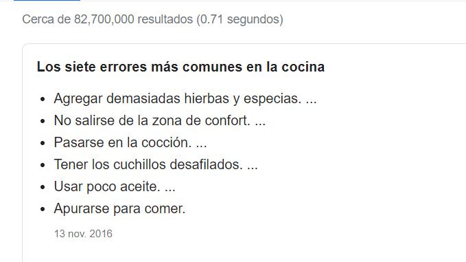 Errores de cocina en Internet.