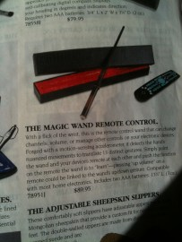 """Where do you suppose the """"input"""" button on this magic wand remote is?"""