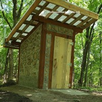 Cordwood Outhouse at Rune Stone Park in Minnesota