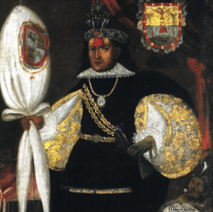 Detail from the portrait of Don Marcos Chiquan, c. 1745