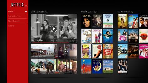 Het oude startscherm van Netflix