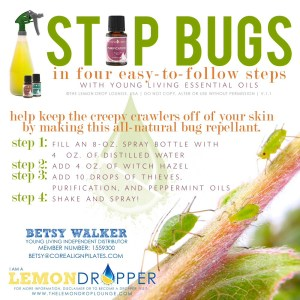 Natural bug repellent with essential oils