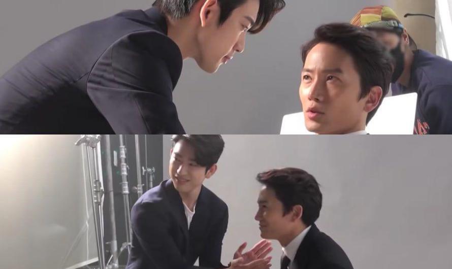 Ji Sung e Jinyoung do GOT7 se provocam afetuosamente na filmagem dos pôsteres para 'The Devil Judge'