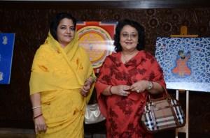 HH Maharani Meenakshi Devi of Kishangarh with Kumarani Gauri Rajya Laxmi Sahiba Gondal