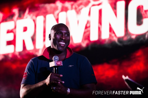 Arsenal legend Sol Campbell relives his glory days at the launch of the PUMA- Arsenal kits in India for the 2015-2016_