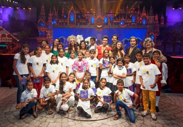 NGO kids with the cast of Beauty and the Beast