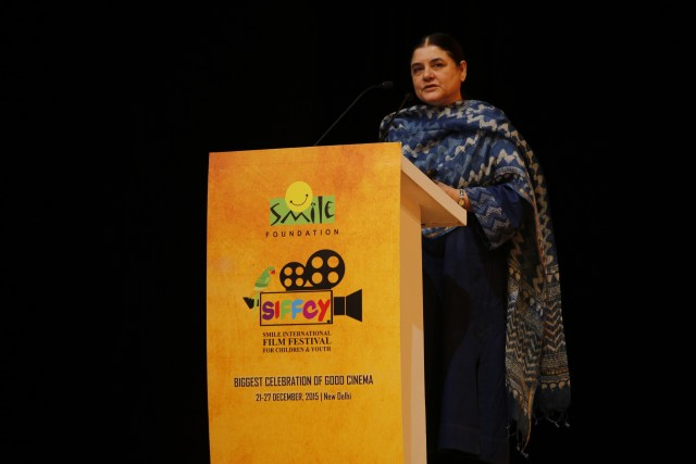 Mrs. Maneka Gandhi,Hon'ble Minister For Women and Child Development, Government of India addressing in SIFFCY4