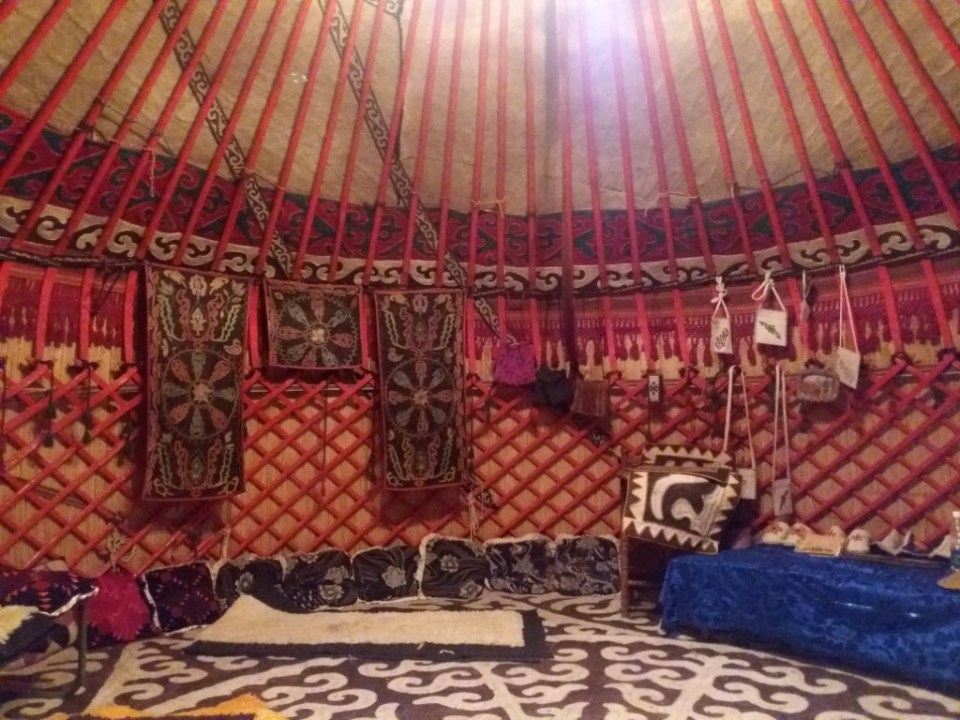 inside a traditional Yurt - a typical Kyrgyz home