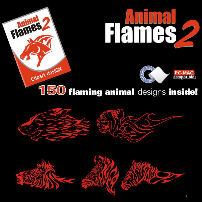 Animal Flames 2 Clip Art