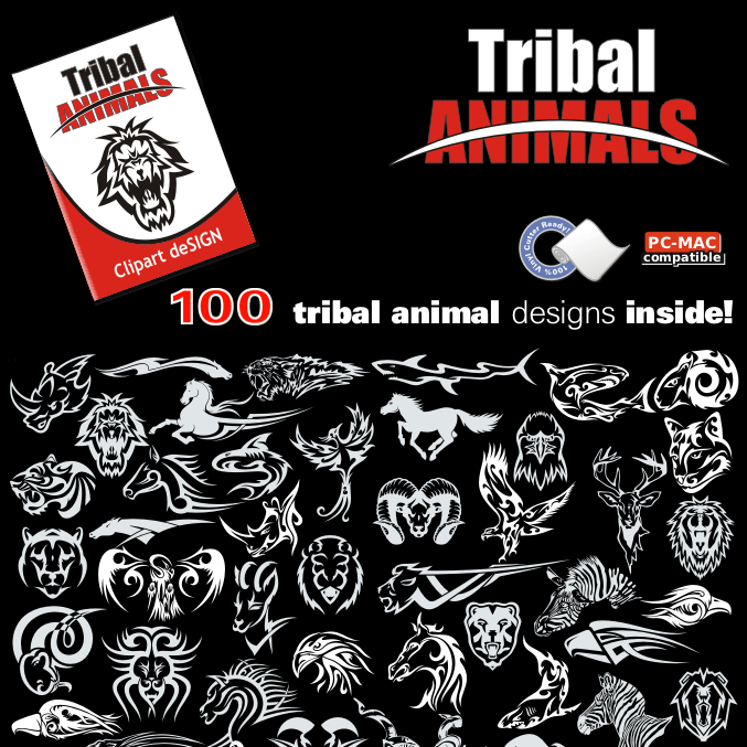 Tribal Animals Clip Art