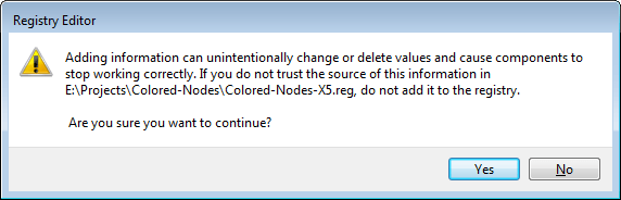CorelDRAW Colored Nodes Registry Warning