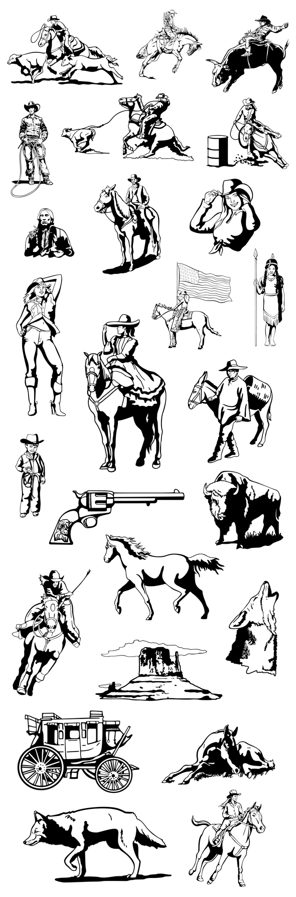 western-rodeo-clipart-bw-samples