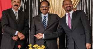 Eritrea's President Isaias Afwerki (left), Ethiopia's Prime Minister Abiy Ahmed (right) and Somalia's President Mohamed Abdullahi Mohamed.