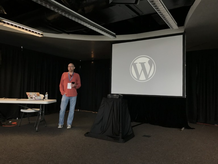Corey Brown speaking at Wordcamp Baltimore 2017