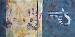 A painting by Corey Okada called Gun Shoots Paper