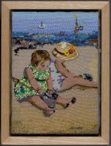 Two Girls Playing on the Beach with Tar, 2008, Seed beads hand sewn on felt, 11 x 8 inches