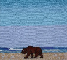 Beach Bear, 2008, Seed beads hand sewn on felt, 8.5 x 9.5 inches
