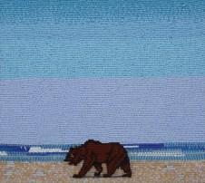 Beach Bear, 2008, Seed beads hand sewn on felt, 8.5 x 9.5 inches