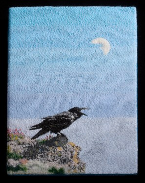 Raven at Noon Moon, 2014, Seed beads, 11 x 9 inches