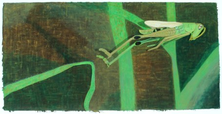 Long Jump, 2001, Acrylic on paper, 2.5 x 72 x 6 inches